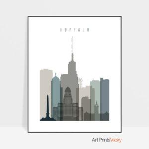 Buffalo art print skyline earth tones 4
