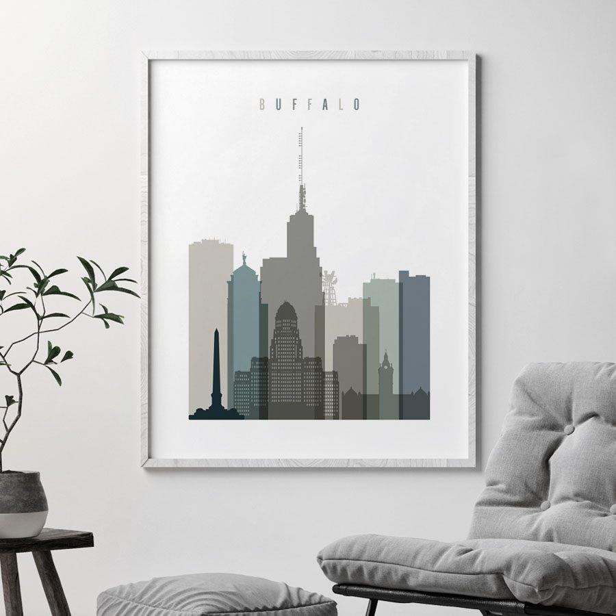 Buffalo art print skyline earth tones 4 second