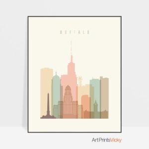 Buffalo art print skyline pastel cream