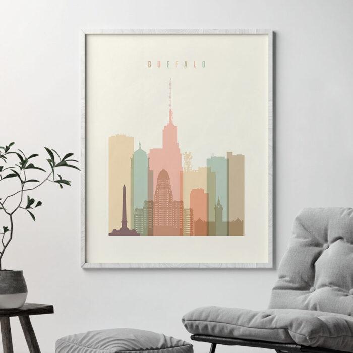 Buffalo art print skyline pastel cream second