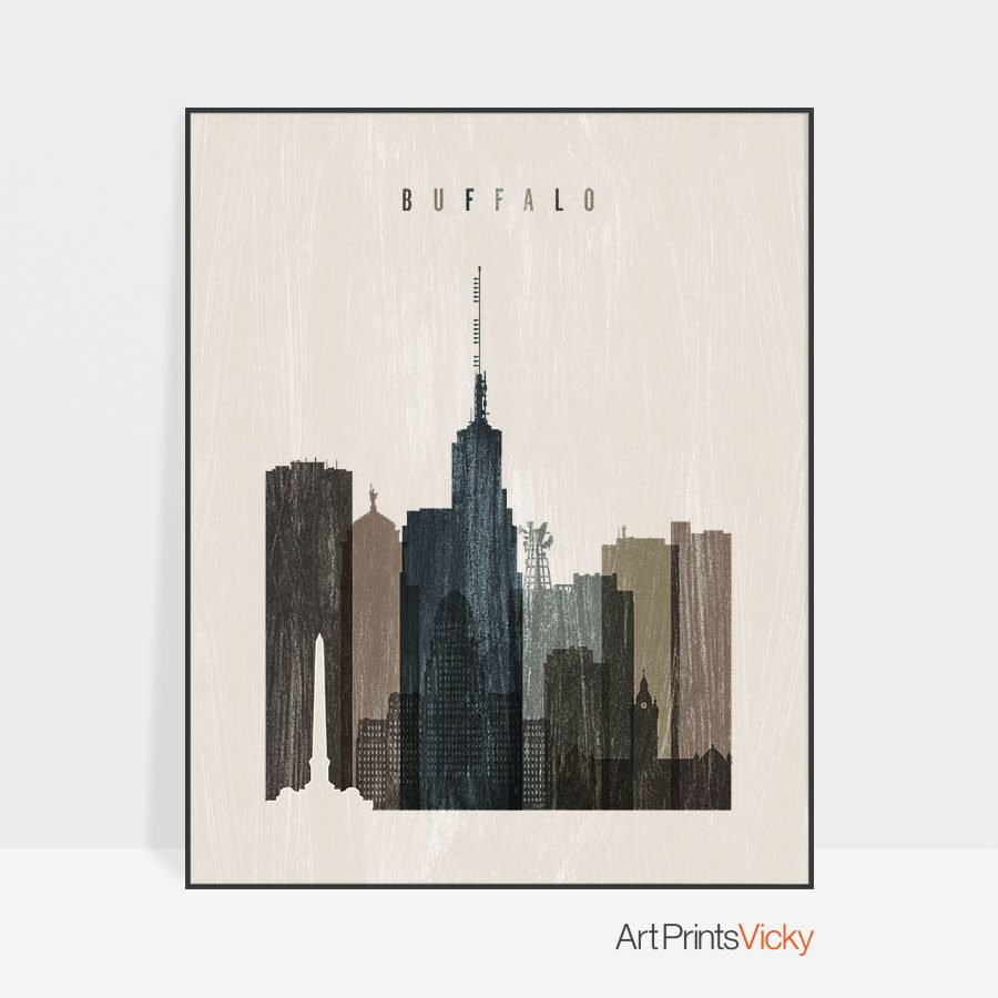 Buffalo skyline print distressed 2