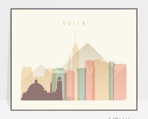 Cairo poster skyline pastel cream landscape