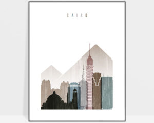 Cairo skyline poster distressed 1