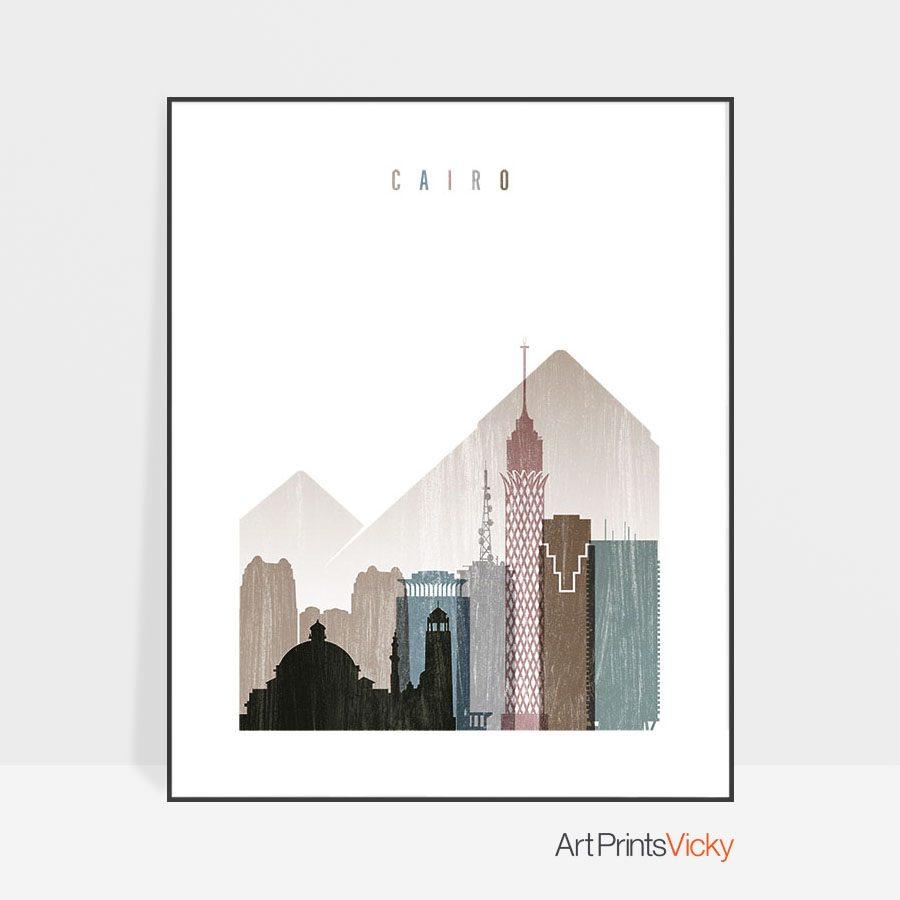 Cairo skyline poster distressed 1