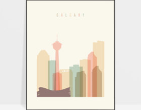 Calgary art print skyline pastel cream