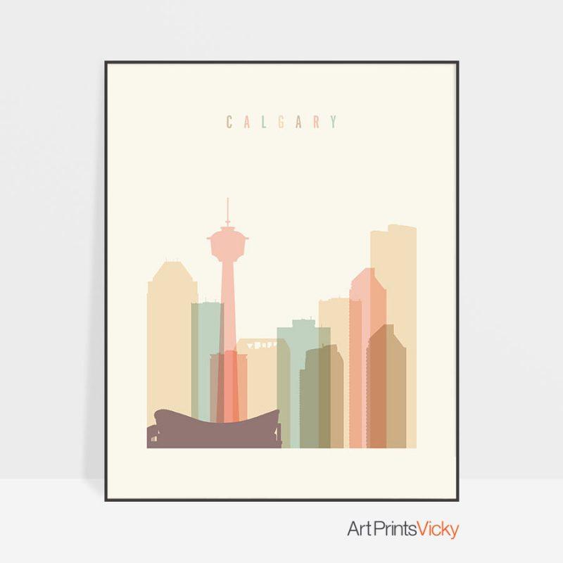 Calgary art print skyline pastel cream