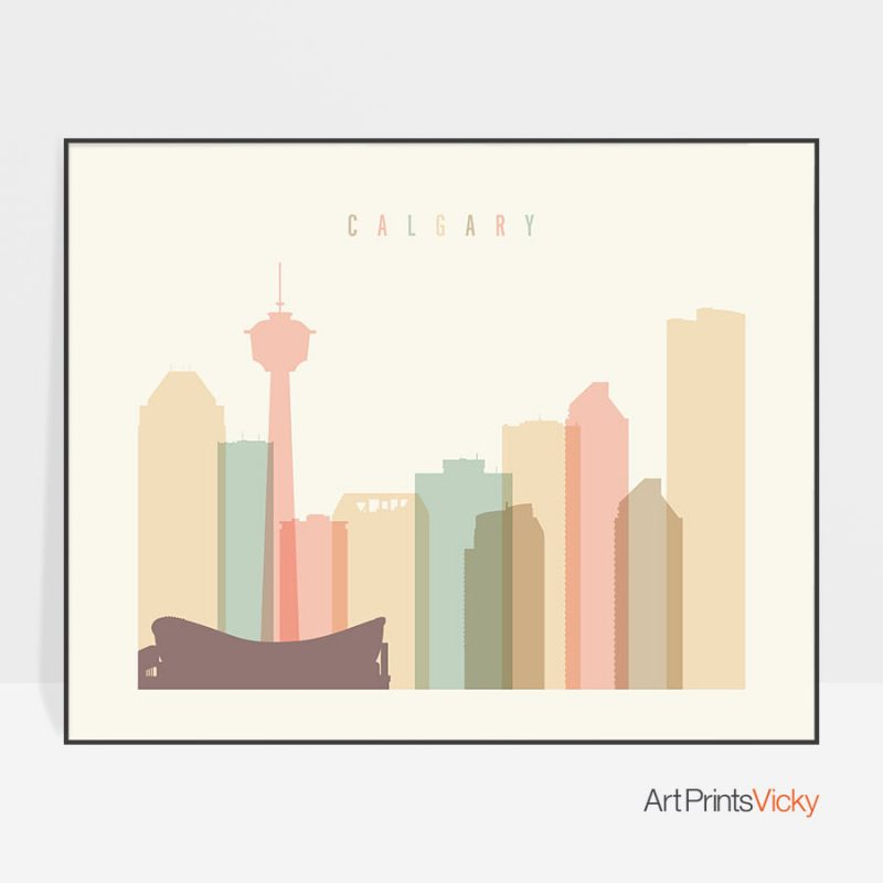 Calgary poster skyline pastel cream landscape