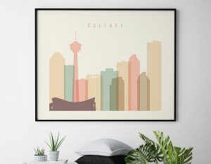 Calgary poster skyline pastel cream landscape second