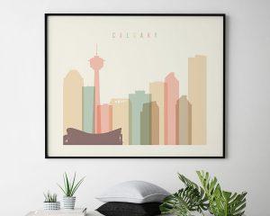 Calgary poster skyline pastel cream landscape second