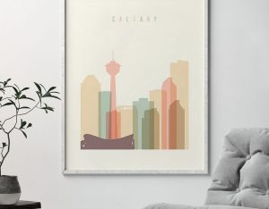 Calgary art print skyline pastel cream second