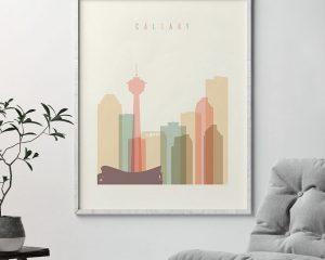 Calgary art print skyline pastel cream second