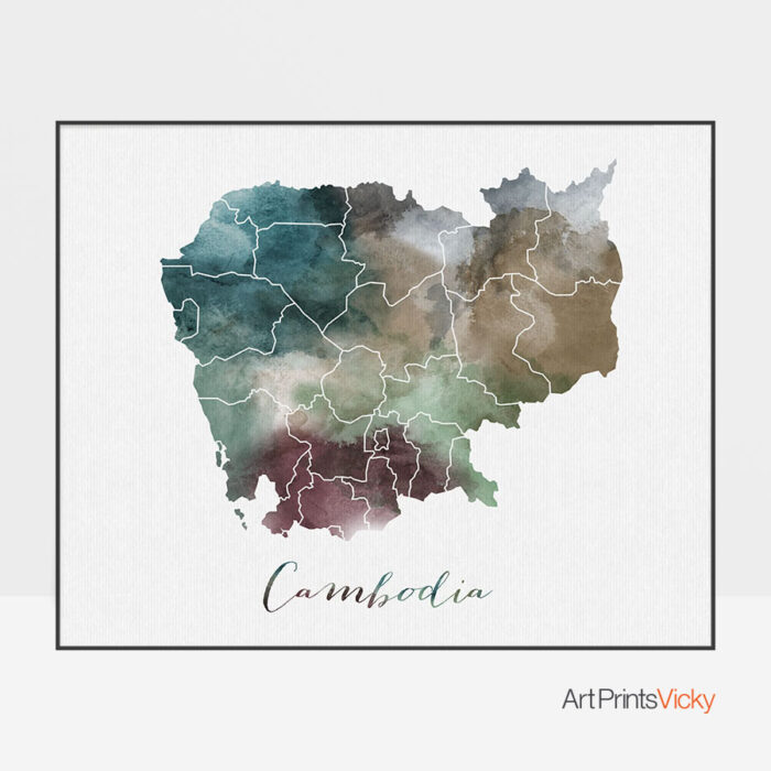 Cambodia map poster
