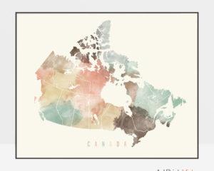 Canada watercolor map print pastel