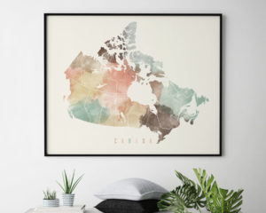 Canada watercolor map print pastel second