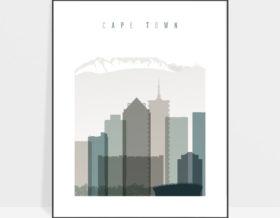 Cape Town art print skyline earth tones 4