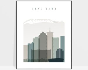 Cape Town art print skyline earth tones 4