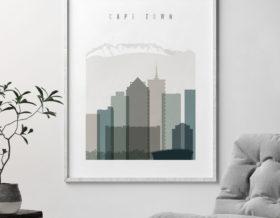 Cape Town art print skyline earth tones 4 second