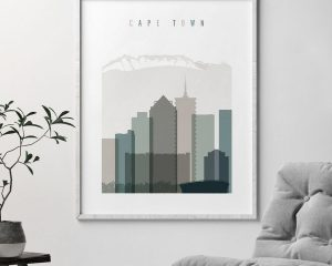 Cape Town art print skyline earth tones 4 second