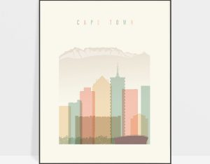 Cape Town art print skyline pastel cream