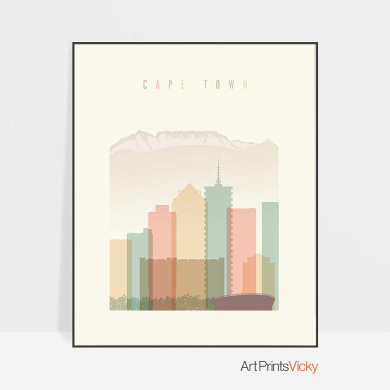 Cape Town art print skyline pastel cream