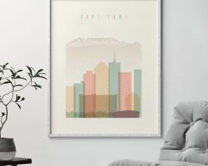 Cape Town art print skyline pastel cream second