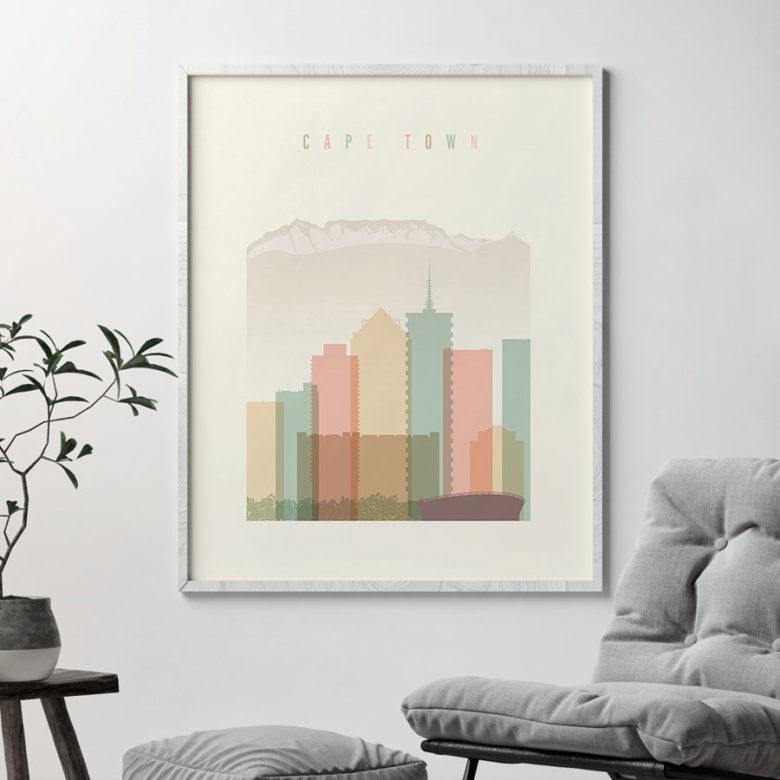 Cape Town art print skyline pastel cream second