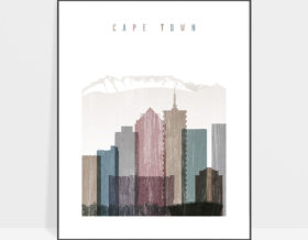 Cape Town skyline poster distressed 1