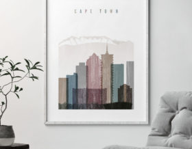 Cape Town skyline poster distressed 1 second