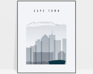 Cape Town skyline poster grey blue