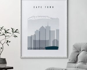 Cape Town skyline poster grey blue second