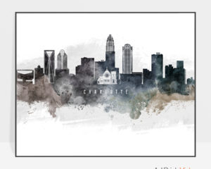 Charlotte art poster watercolor