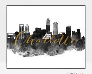Charlotte cityscape poster black white gold