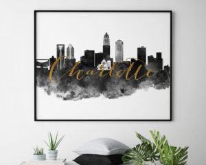 Charlotte cityscape watercolor-poster black white gold second