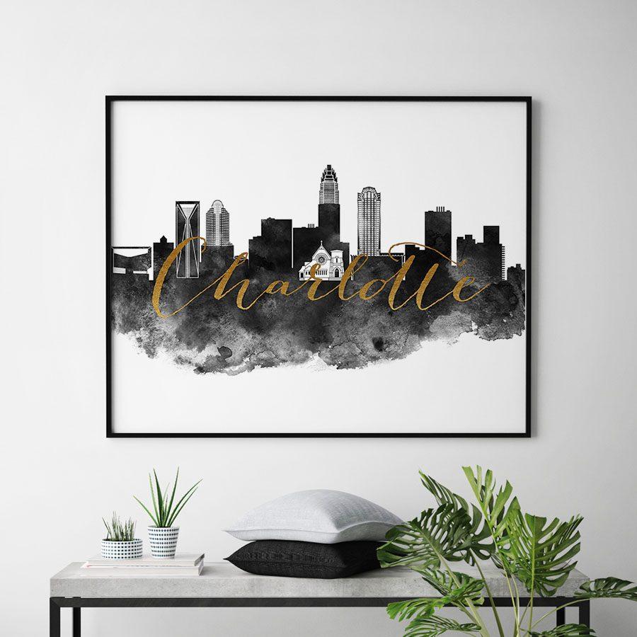 Charlotte cityscape watercolor-poster black white gold second