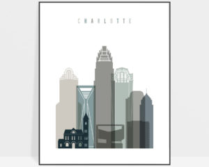 Charlotte art print skyline earth tones 4