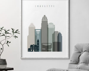 Charlotte art print skyline earth tones 4 second