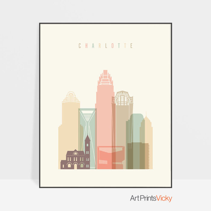 Charlotte art print skyline pastel cream