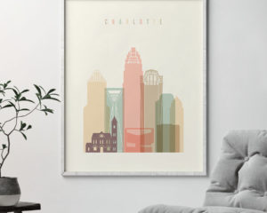 Charlotte art print skyline pastel cream second