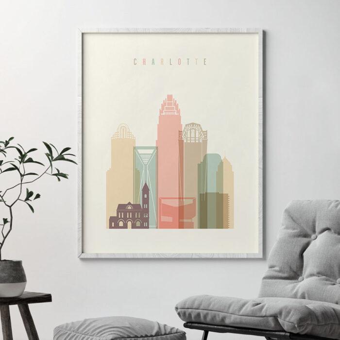 Charlotte art print skyline pastel cream second