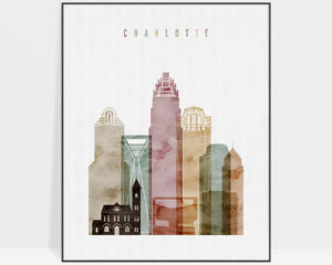 Charlotte skyline print watercolor