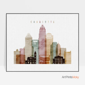 Charlotte skyline print watercolor 1 landscape