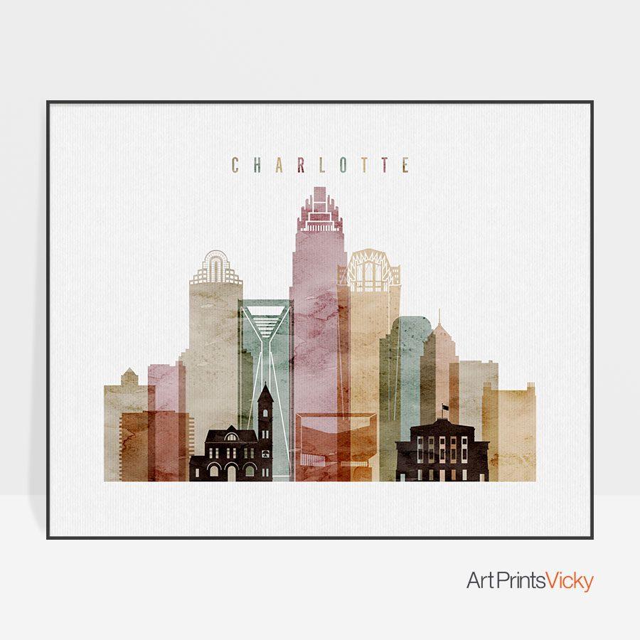 Charlotte skyline print watercolor 1 landscape