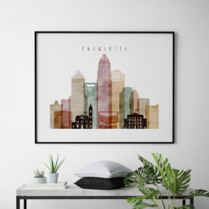 Charlotte skyline print watercolor 1 landscape second