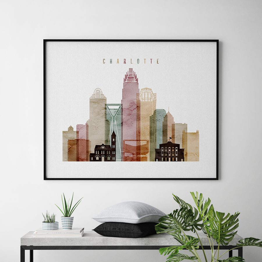 Charlotte skyline print watercolor 1 landscape second