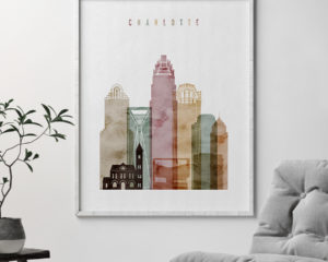 Charlotte skyline print watercolor 1 second