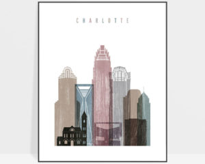 Charlotte skyline poster distressed 1