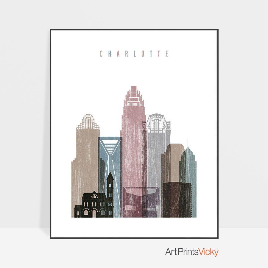 Charlotte skyline poster distressed 1