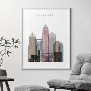 Charlotte skyline poster distressed 1 second