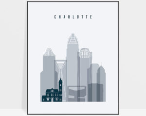 Charlotte skyline poster grey blue