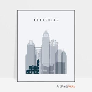 Charlotte skyline poster grey blue